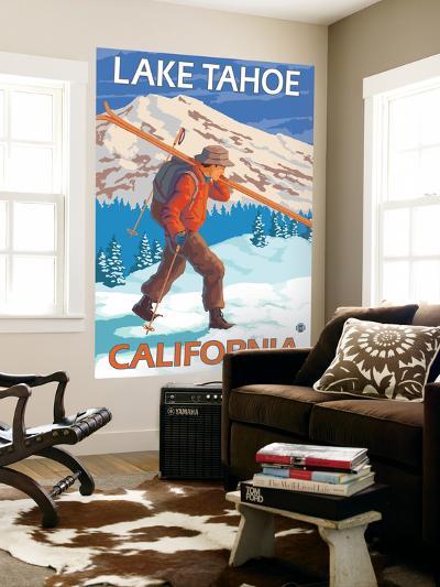 Skier Carrying Snow Skis, Lake Tahoe, California-Lantern Press-Wall Mural