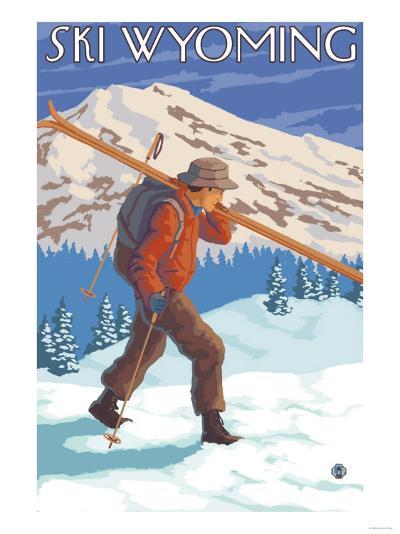 Skier Carrying Snow Skis, Wyoming-Lantern Press-Art Print