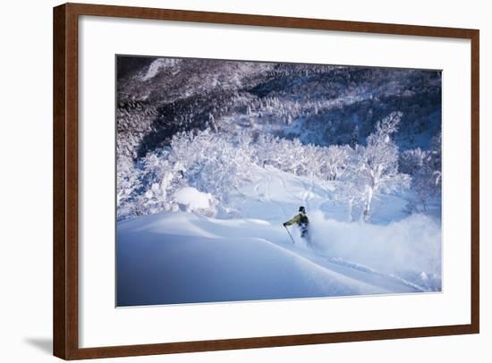 Skier Cuts Through Fresh Powder While Skiing Near Kiroro Resort-Max Lowe-Framed Photographic Print