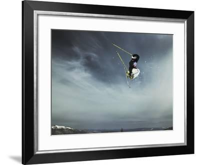 Skier Doing Freestyle Jump in Air--Framed Photographic Print