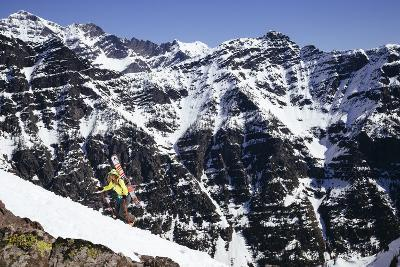Skier Hiking Up For Another Run In Glacier National Park. This Time Dropping Into Basecamp-Jay Goodrich-Photographic Print