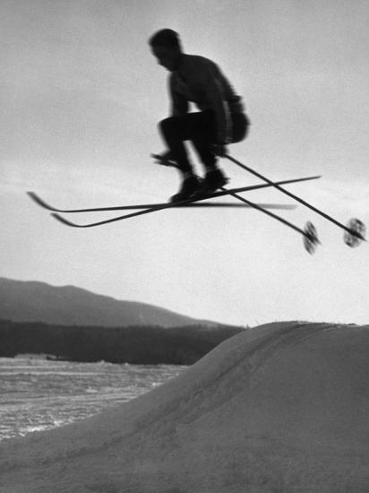 Skier in Mid Air-George Marks-Photographic Print