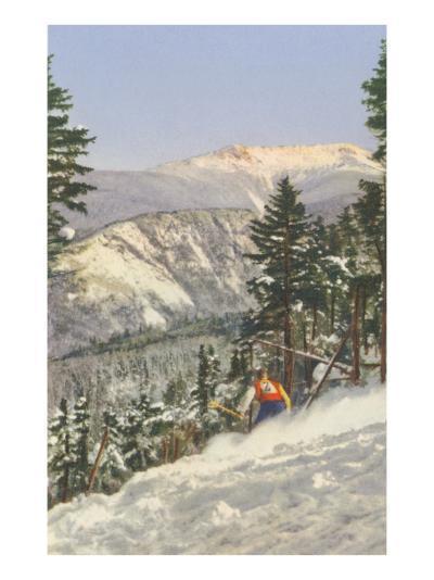 Skier in Rough Terrain--Art Print