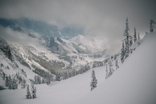 Skier Makes Some Steep Angle Powder Turns In Cascades Of Washington As A Snow Storm Begins To Clear-Jay Goodrich-Photographic Print