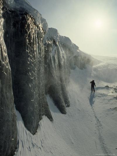 Skier on a Frozen Fjord Beneath Ice Cliffs of Nordenskjold Glacier-Gordon Wiltsie-Photographic Print