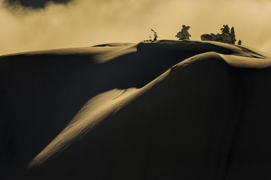Skier Pulls Skins For Another Run In The Cascade Backcountry During A Winter Storm-Jay Goodrich-Photographic Print