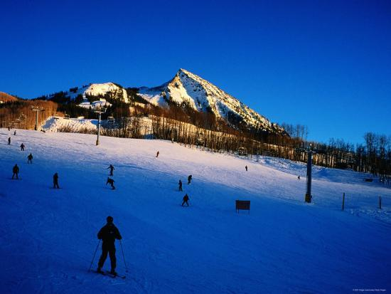 Skiers at Mt. Crested Butte, Crested Butte, Colorado-Holger Leue-Photographic Print