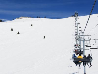 Skiers Being Carried on a Chair Lift to the Back Bowls of Vail Ski Resort, Vail, Colorado, USA-Kober Christian-Photographic Print
