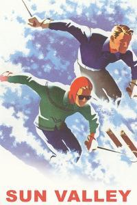 Skiers in Powder, Sun Valley