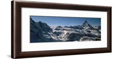 Skiers on Mountains in Winter, Matterhorn, Switzerland--Framed Photographic Print