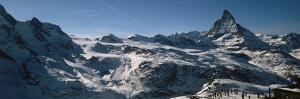Skiers on Mountains in Winter, Matterhorn, Switzerland