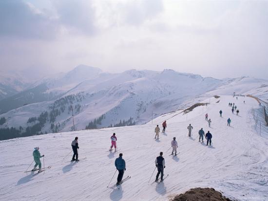 Skiers, Steinberkogel Area, Kitzbuhel, Austria-Adam Woolfitt-Photographic Print