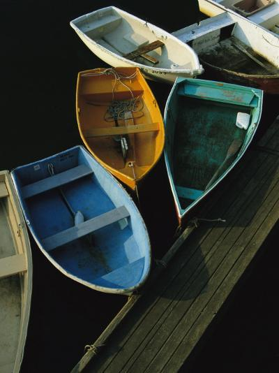 Skiffs Tied up at a Dock in the Inner Harbor at Rockport-Tim Laman-Photographic Print