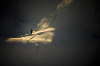 Skiier Drops Into A Steep Line In The Cascade Backcountry During Early Morning Light-Jay Goodrich-Photographic Print