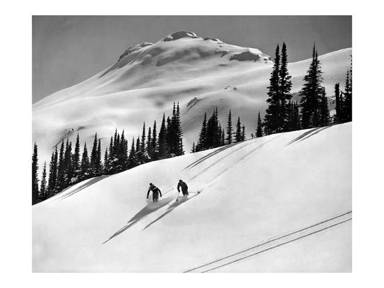 Skiing Beauty on Slopes-Underwood-Giclee Print