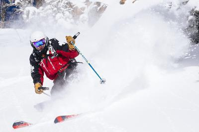 Skiing In-Bounds Powder And Terrain At Jackson Hole Mountain Resort-Jay Goodrich-Photographic Print