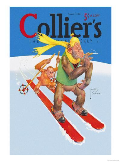 Skiing Monkeys-Lawson Wood-Art Print
