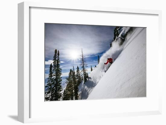 Skiing The Teton Backcountry Powder After A Winter Storm Clears Near Jackson Hole Mountain Resort-Jay Goodrich-Framed Photographic Print