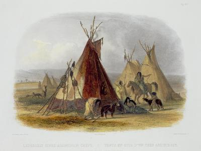 Skin Lodge of an Assiniboin Chief, Plate 16, Travels in the Interior of North America-Karl Bodmer-Giclee Print