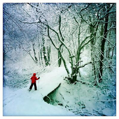 A 9 Year Old Boy Cross Country Skis across a Snow Covered Bridge