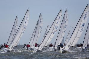 A Fleet of J70 Sailboats During a Race on the Chesapeake Bay Near Annapolis, Maryland by Skip Brown