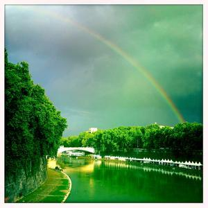 A Rainbow over the Tiber River, Rome, Italy by Skip Brown
