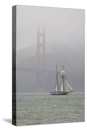 A Two Masted Schooner Sails under the Golden Gate Bridge