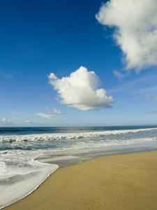 Atlantic Ocean Waves Break Upon the Beach on a Sunny Day with Clouds by Skip Brown