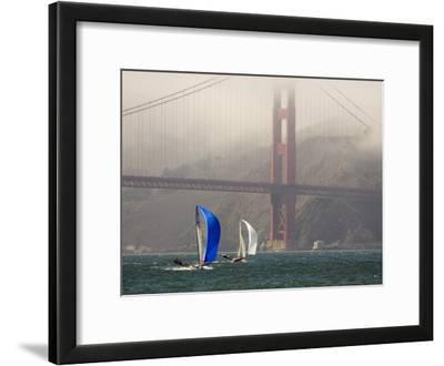 International 14 Skiffs Race under the Golden Gate Bridge, San Francisco Bay, California