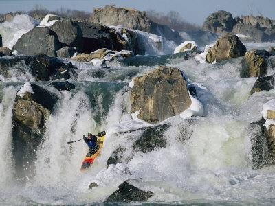 Kayaker Running Great Falls on the Potomac River in Winter