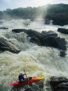 Kayaker Running Maryland Side of Great Falls on the Potomac River by Skip Brown
