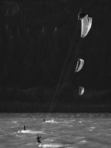 Kiteboarders in the Columbia River Gorge by Skip Brown