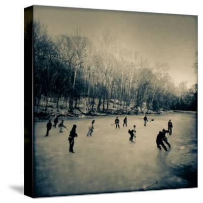 Pond Hockey Pickup Game on the Frozen C&O Canal Near Potomac, Maryland