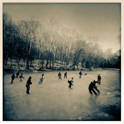 Pond Hockey Pickup Game on the Frozen C&O Canal Near Potomac, Maryland