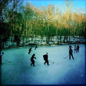 Pond Hockey Pickup Game on the Frozen C&O Canal Near Potomac, Maryland by Skip Brown