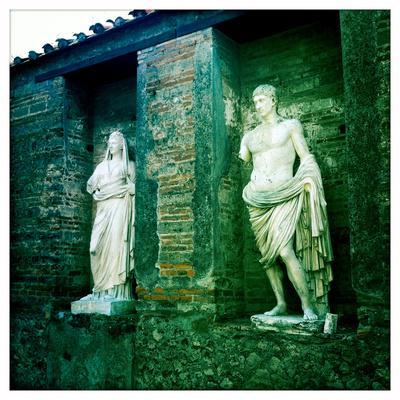 Roman Statues in the Ruins of Pompeii, Italy