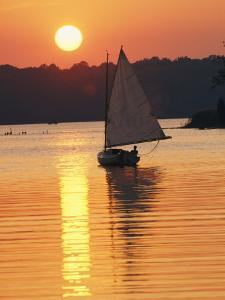Sailboat and Sunset, South River, Maryland by Skip Brown