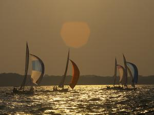 Sailboats Race During the Wednesday Night Race Series Near Annapolis by Skip Brown