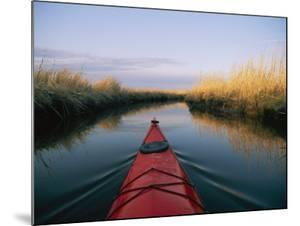 The Bow of a Kayak Leads the Way Through a Marsh Channel by Skip Brown