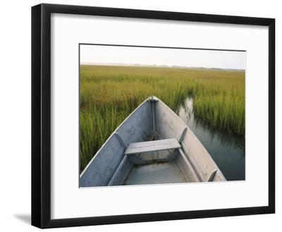 The Bow of a Rowboat Slices Through the Marsh Grass