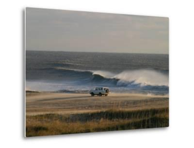 Wind, Waves and Fisherman in an Suv on a Beach in the Outer Banks