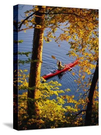 Woman Kayaking with Fall Foliage, Potomac River, Maryland