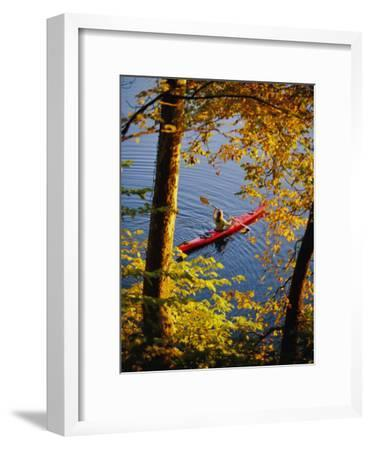 Woman Kayaking with Fall Foliage, Potomac River, Maryland
