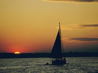 Skipjack Silhouetted at Sunset-Emory Kristof-Photographic Print