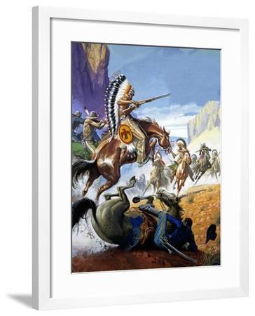 Skirmish Involving Indians and Soldiers-Severino Baraldi-Framed Giclee Print