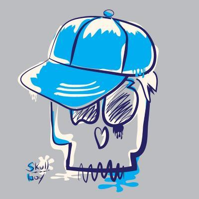 Skull Boy Illustration, Typography, T-Shirt Graphics- Syquallo-Art Print