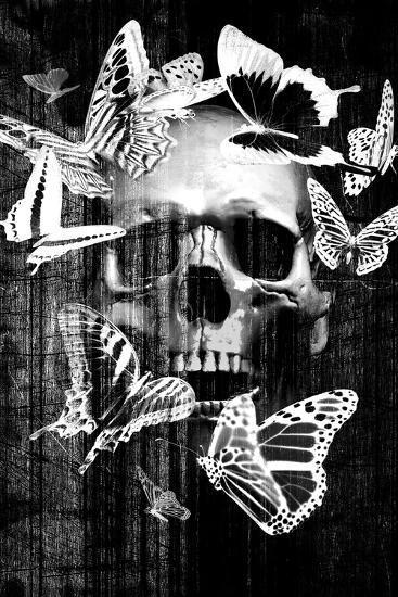 Skull Butterfly Crown--Art Print