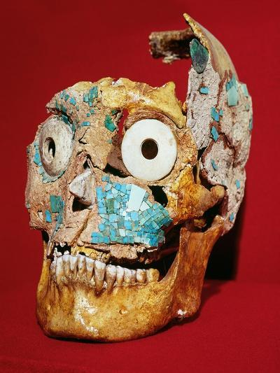 Skull Decorated with a Mosaic in Turquoise and Ivory, Mixtec, from Tomb 7, Monte Alban, 1300-1450--Giclee Print