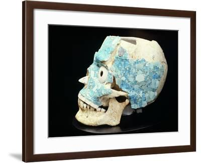 Skull Decorated with Turquoise from the Treasury of Tomb 7 in Monte Alban--Framed Giclee Print