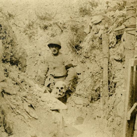 Skull found buried in the trenches, c1914-c1918-Unknown-Photographic Print